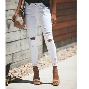 LISSA White Distressed Skinny Jeans